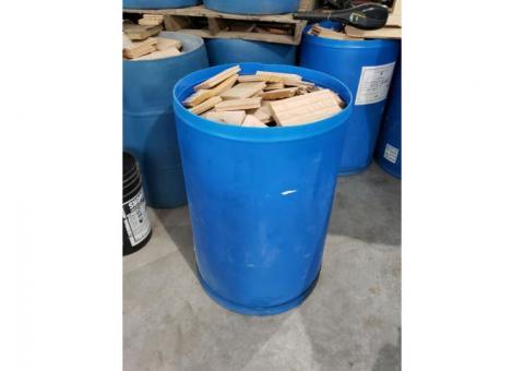 55 gallon plastic barrel with wood